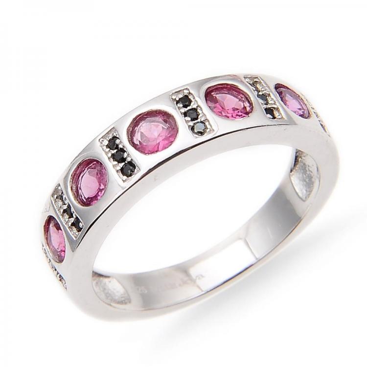 Tourmaline, Black Spinel & 925 Sterling Silver Ring