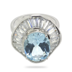 Blue Topaz & 925 Sterling Silver Ring
