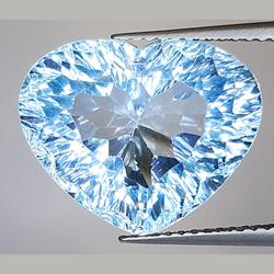 13.85ct Swiss Blue Topaz Heart Millenium Cut
