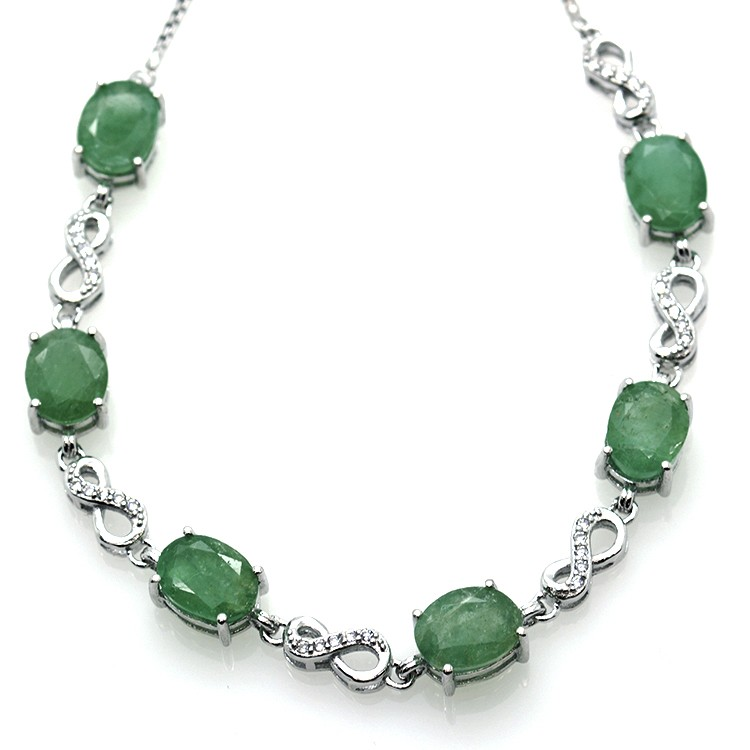 Emerald and Silver 925 Bracelet
