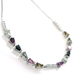 Multicolor Tourmaline Bracelet and 925 Silver