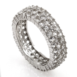 White topaz or black spinel ring and 925 silver