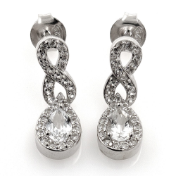 White topaz and 925 silver earrings