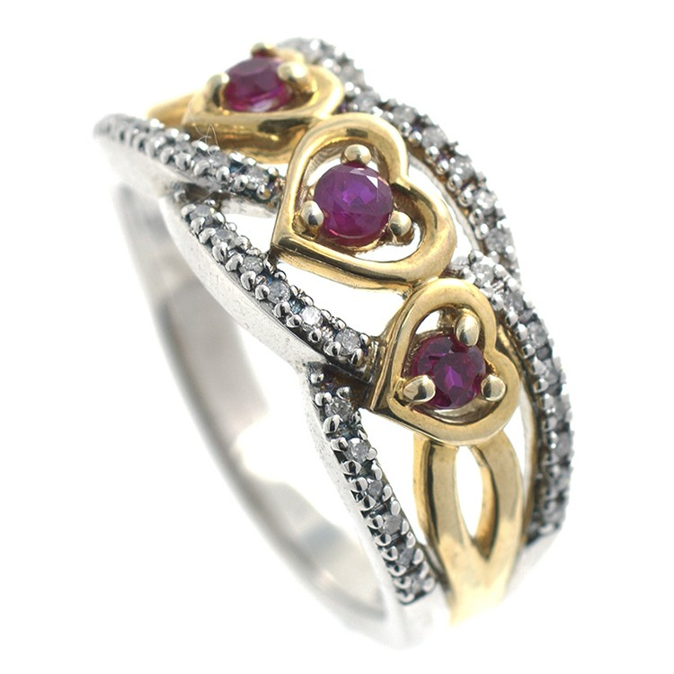 Ring Diamonds, Ruby and Silver 925