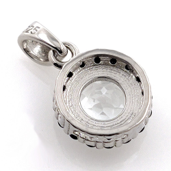 White Topaz and Spinel Pendant in Silver 925