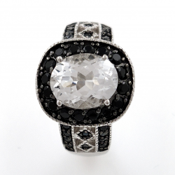 White Topaz and Black Spinel 925 Silver Ring