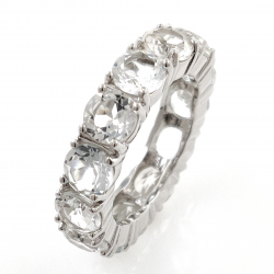 Infinity ring in white topaz and 925 silver