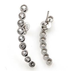 White Topaz or Black Spinel and 925 Silver Earrings