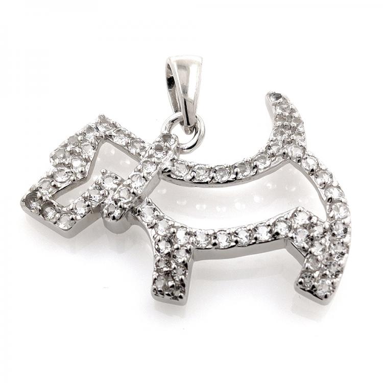 White topaz dog pendant and 925 silver