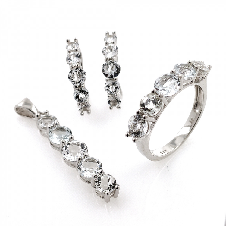 Set of White Topaz and Silver 925
