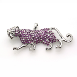 Ruby and Silver 925 Panther Pendant / Brooch