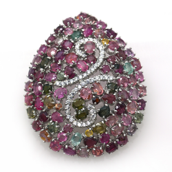 Tourmaline and Silver 925 Pendant / Brooch