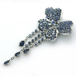 DIY Sapphire and Silver 925 Pendant / Brooch