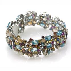 Sapphire, Zircon and 925 Silver Bracelet
