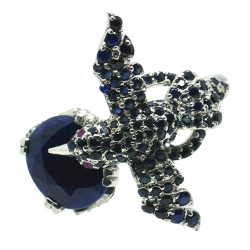 Bird Ring of Sapphires and Silver 925