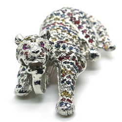 Sapphire and Silver 925 Panther Pendant / Brooch