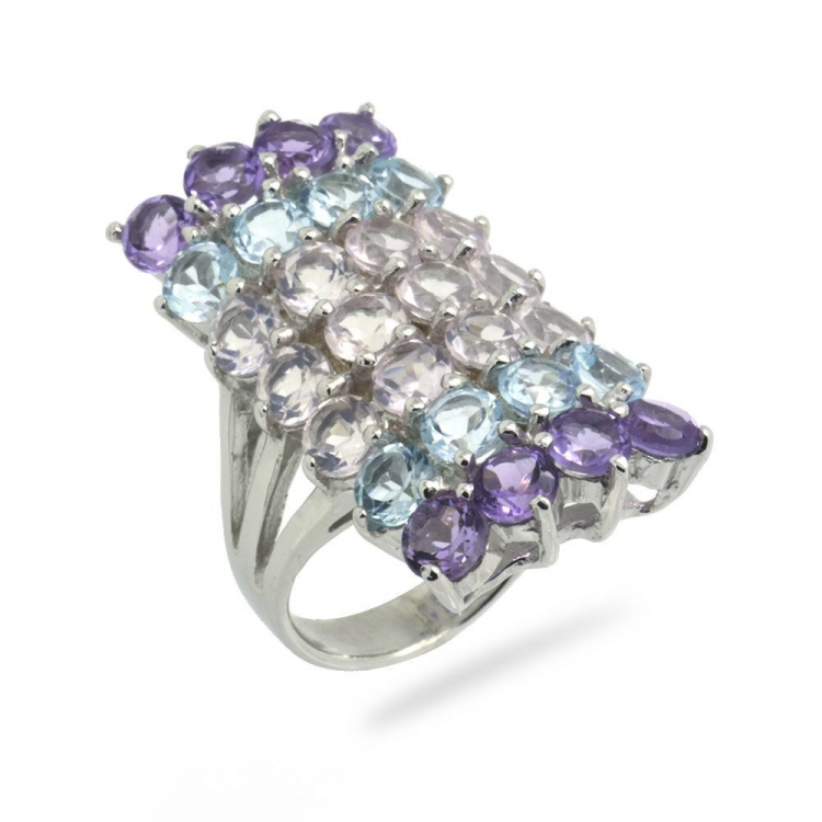 Amethyst, Blue Topaz, Pink Quartz & 925 Sterling Silver Ring