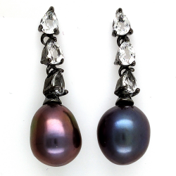 Black Pearl, White Topaz and 925 Silver Earrings