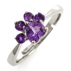 925 Silver Amethyst or Rose Quartz Cat Ring