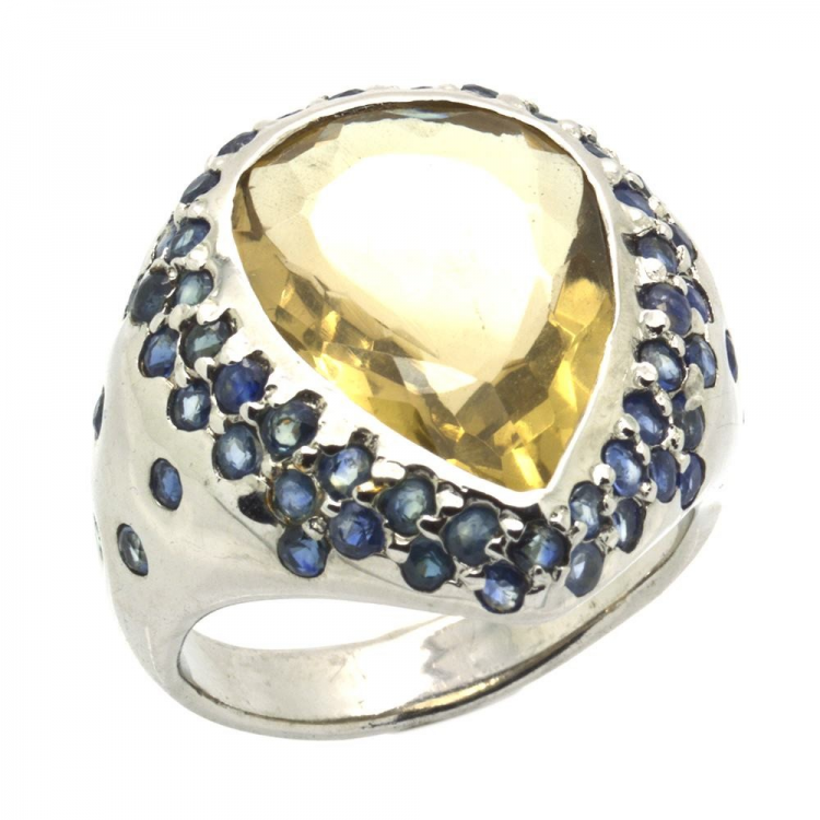 Lemon Quartz & Sapphire & 925 Sterling Silver Ring