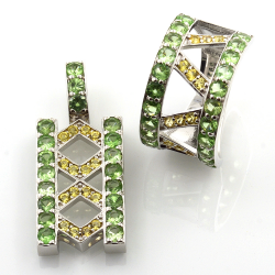 Ring and pendant of Tsavorite and yellow Sapphire with Silver 925