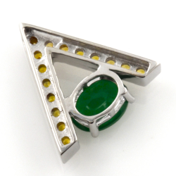 Pendant and earrings of Green Agate and Yellow Sapphire with Silver 925