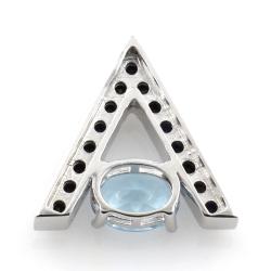 Silber 925 Blue Topaz und Black Spinell Ohrringe und Anhänger