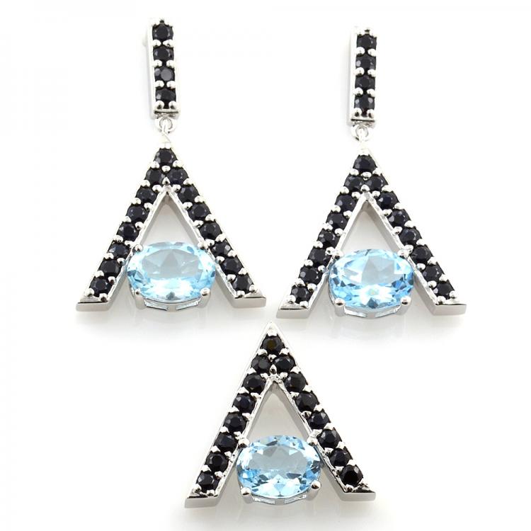 Orecchini e pendente in argento 925 con topazio azzurro e spinello nero