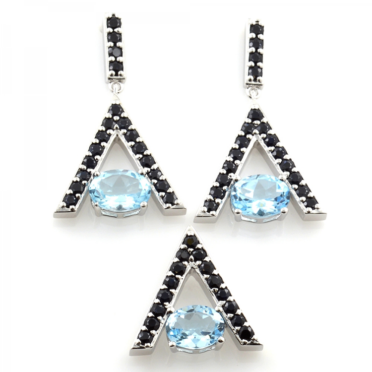 Silver 925 Blue Topaz and Black Spinel Earrings and Pendant