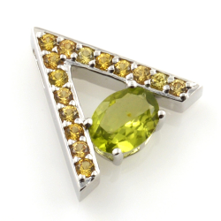 Yellow Sapphire and Peridot pendant and earrings with 925 Silver