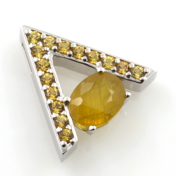 Yellow Sapphire pendant and earrings with Silver 925