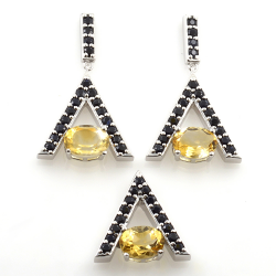 Sterling Silver Citrine and Black Spinel Earrings and Pendant