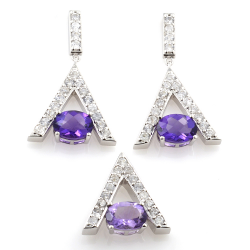 Sterling Silver Amethyst and White Zircon Pendant and Earrings