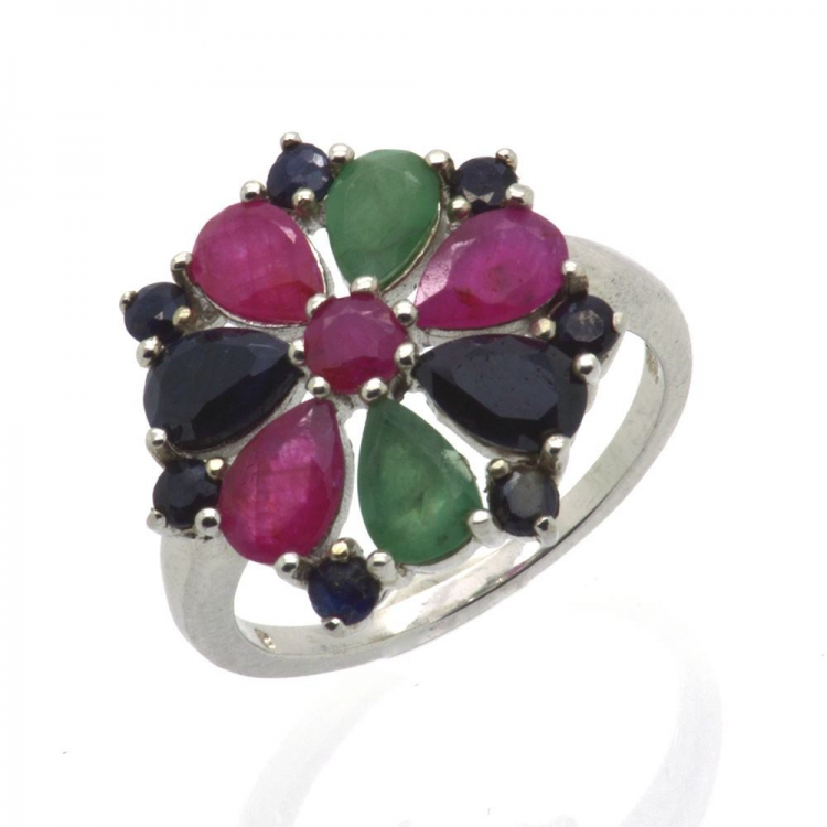 Ruby, Sapphire, Emerald & 925 Sterling Silver Ring