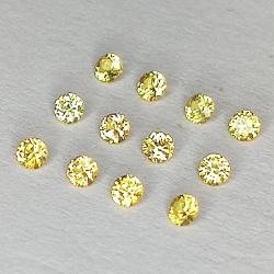 Zafiro amarillo talla brillante 1.5-2.0mm