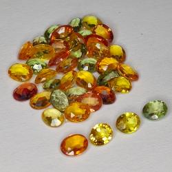 7.63ct Songea Sapphire multicolor oval cut 4.0x3.1mm 40pc