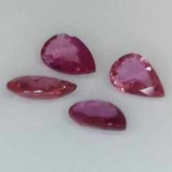 Ruby pear cut 6x4mm 4pcs