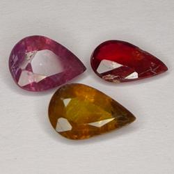 3.05ct Sapphire Multicolor pear cut 8.5x5.4mm 3pc