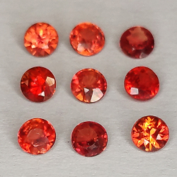 Zaffiro Songea rosso, taglio rotondo, 2,1-2,9 mm, 1 ct