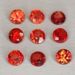 Zafiro de Songea rojo en talla redonda 2.1-2.9mm 1ct