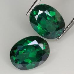 Green topaz oval cut 9x7mm 2pz