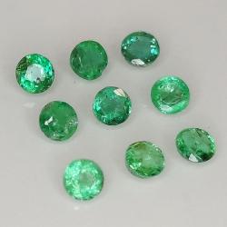 Round cut emerald 1.9-3.7mm 1ct