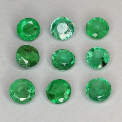 Round cut emerald 2.9-3.8mm 1ct