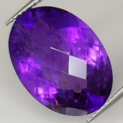 Amethyst oval cut checkerboard 18x13mm 1pz