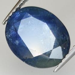 3.71ct Blue Sapphire silk effect oval cut 10.7x8.6mm