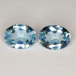 3.04ct Pair Blue Topaz oval cut 8.0x6.0mm