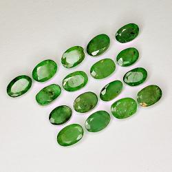 6.99ct Emerald oval cut 6.0x4.0mm 17pc