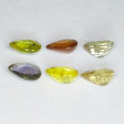5.01ct Songea Sapphire multicolor pear cut 6.9x5.0mm 6pc