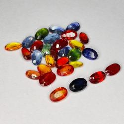 8.54ct Songea Sapphire multicolor oval cut 4.9x3.1mm 29pc