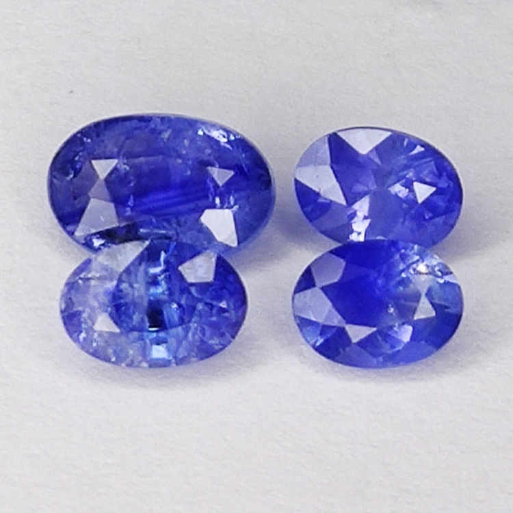 1.93ct Blue Sapphire oval cut 6.5x4.3mm 4pc